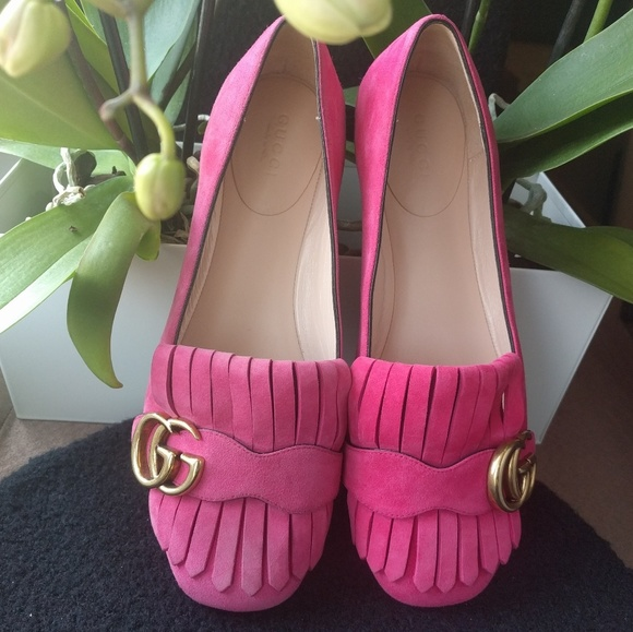 6079fa8fba4 Gucci GG Fringe Marmont Suede Flats NWOT